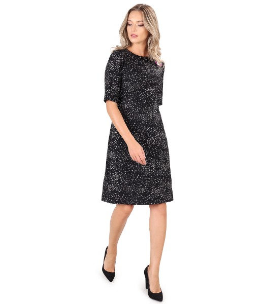 Flared office dress with bow at the decolletage