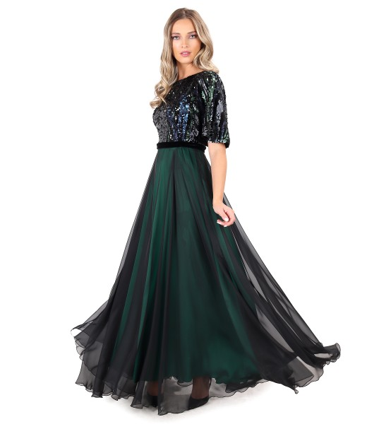Long veil evening dress with bodice and sequin sleeves