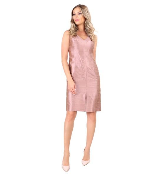 Taffeta dress with V low-cut neck