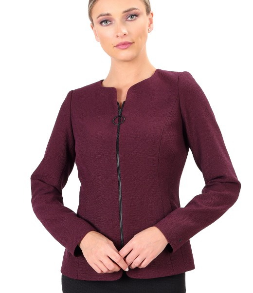 Office jacket with front zipper