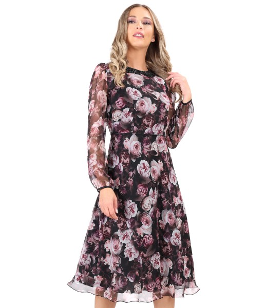 Floral printed veil dress